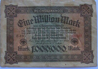 1923 Germany 1,000,000 Mark Reichsbanknote- Red Numbers