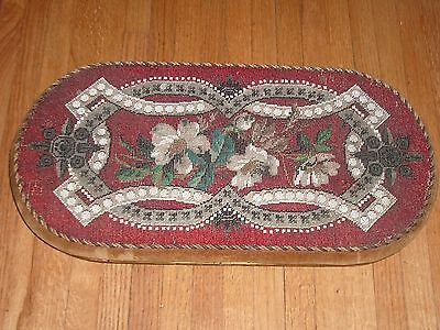 Antique Mahogany English Victorian Tea Tray Hand Beaded Trivet NO RESERVE