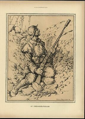 Grenadier Fusilier Peering Over Trenches World War I 1918 vintage historic print