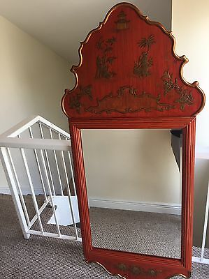 Chinoiserie Chinese Red/ Orange Hand Painted Pagoda Mirror