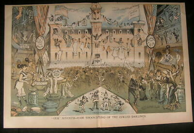 Fundraising Fair United States Army Vendors 1879 antique color lithograph print