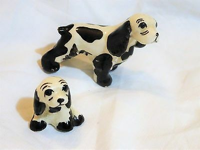 2 Vintage Miniature Porcelain Cocker Spaniel Dog Familly Figurines Mom & Puppy