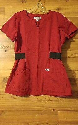 Koi By Kathy Peterson Red Short Sleeve Scrub Top Size S