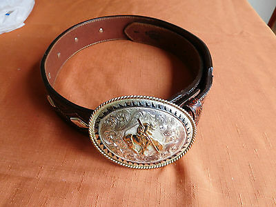 """Montana Silversmith Buckle 4"""" Justin Belt 34 End of the Trail"""