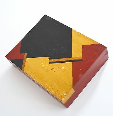 Vintage Zig Zag Modernist Geometric Art Deco Hand Painted Playing Card Box