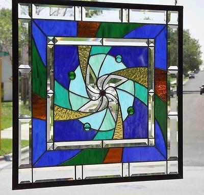 "•HYPNOTIC•Beveled Stained Glass Window Panel • 25 1/4"" x23 ¼""-(66x59cm.)"