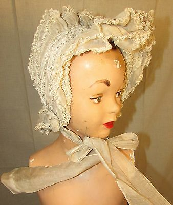 1890's Organdy & Lace Bonnet With Ruffles, Cording
