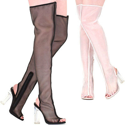 abf2d58ffa11 Sheer Mesh Peep Toe Over The Knee Thigh High Lucite Clear Chunky Thick Heel  Boot