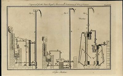 Machinery Vacuum Water Pumps Pneumatics 1771 antique engraved print
