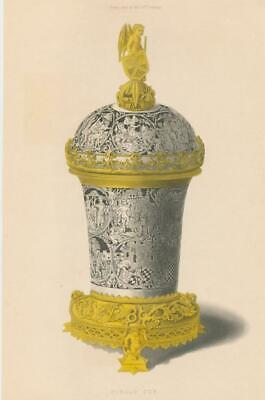 Decorative lovely Niello Cup 1843 antique engraved hand color medieval print