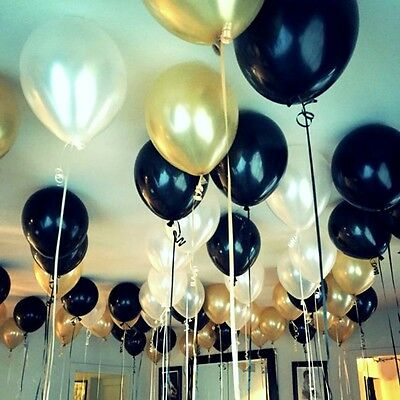 Metallic Gold, Black & White Balloons (45PCE)-Party Decorations-Weddings-Helium