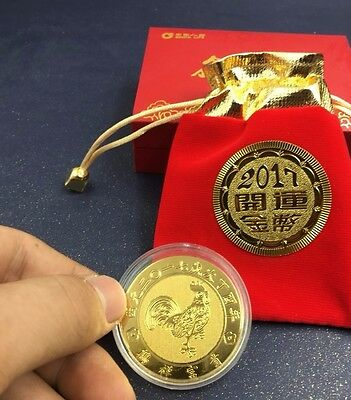 2pc Chinese newyear rooster year gold plated paper coin lucky coin fengshui 2017