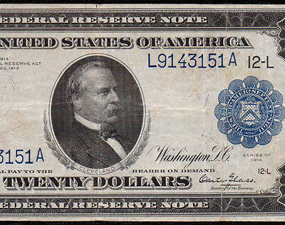 Fr 1009 1914 $20 Federal Reserve Note San Francisco Burke Glass