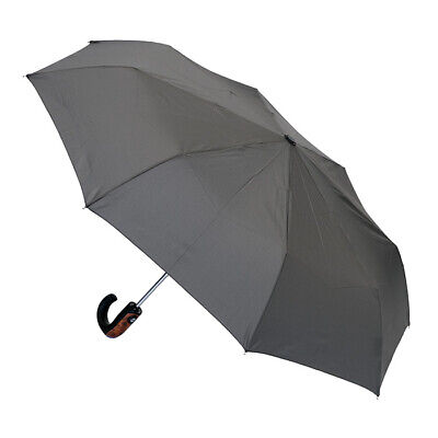 Men's Automatic Folding Umbrella Wood Trim Handle Charcoal
