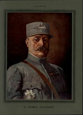 General Guillaumat Portrait 1917 vintage WWI color print