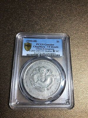 1890-08 China Kwangtung Silver Dollar Heaton PCGS VF Details