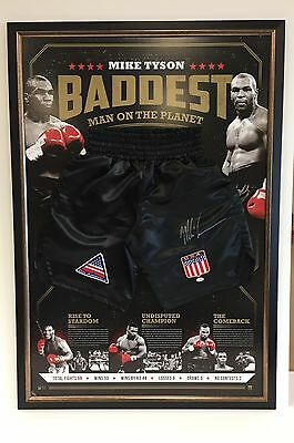 Mike Tyson Hand Signed And Framed Boxing Limited Edition Trunks Baddest