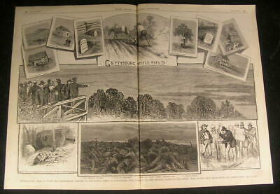 Union & Confederate Troops Revisit Gettysburg 1882 antique engraved print