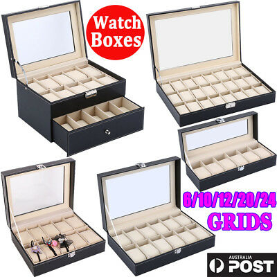 Watch Jewelry Display Storage Holder Case 6 10 20 Grids Box Organizer Gift