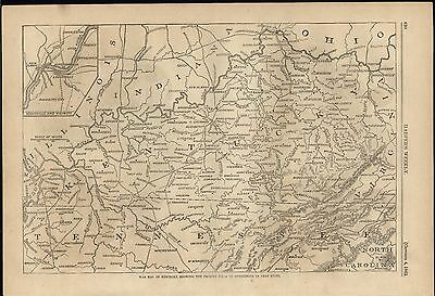 War in Kentucky Field of Operations Cumberland Gap 1862 antique engraved map