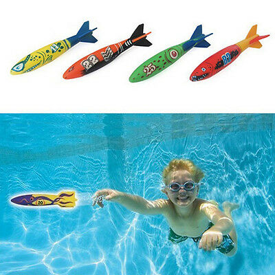 4PCS/Set Underwater Torpedo Rocket Swimming Pool Toy Swim Dive Sticks Games