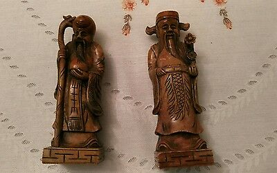 """Antique Pair of Chinese Soapstone Seals, Carved Immortals,Heavy, 6"""" High."""