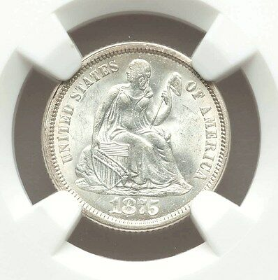 1875-S Seated Liberty Dime NGC MS64 S Below Bow White Lustrous Type Coin
