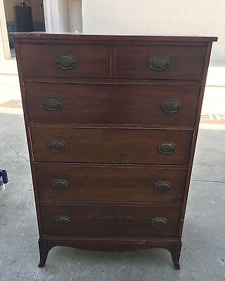 Lovely Tall Mahogany Dresser/Chest of Drawers Mid Century Made in USA  EUC