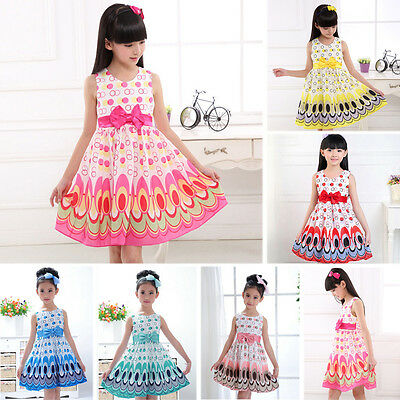 Kids Baby Girls Bow Belt Sleeveless Princess Dress Party Wedding Peacock Gown