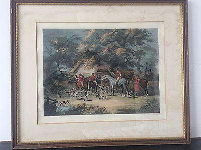 VICTORIAN HAND COLOURED FOX HUNTING PRINT ORIGINAL FRAME EQUESTRIAN HORSE c19th