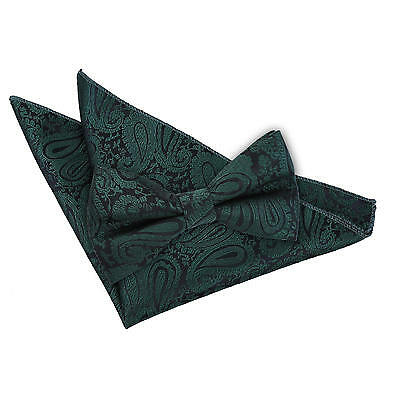 New Dqt Paisley Emerald Green Men's Pre-Tied Wedding  Bow Tie & Hanky Set
