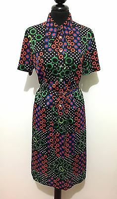 CULT VINTAGE '70 Abito Vestito Donna Pois Pin Up Jersey Woman Dress Sz.S - 42