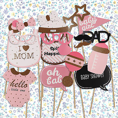 20PCS Baby Shower Photo Booth Props Little Lady Girl Boy Mini Mister New Born