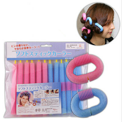 12PCS 15CM Curl DIY Hair Curlers Tool Styling Rollers Spiral Circle Magic Roller