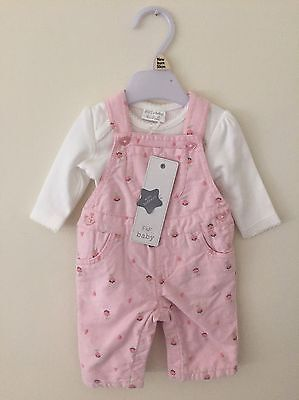 F&F Baby Girl Floral Embroidered Dungarees And Top Newborn BNWT