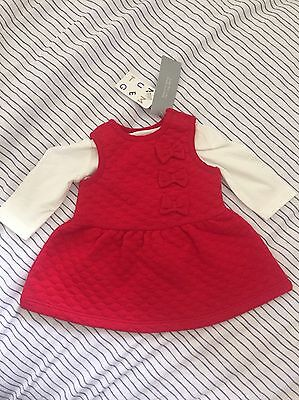 NUTMEG Baby Girls Quilted Red Dress And Top BNWT Newborn