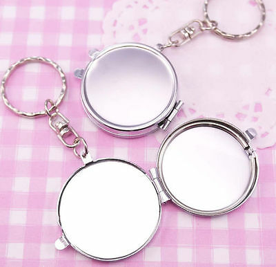 Silver Metal Keychain 35mm Mirror Blank Compact - DIY Craft Decoden Engraving