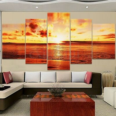 Wall Art Large Seaside Sunset Canvas Print Painting Picture Home Decor Unframed