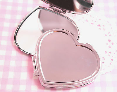 Silver Metal HEART 70mm Mirror Blank Compact - DIY Craft Decoden Engraving