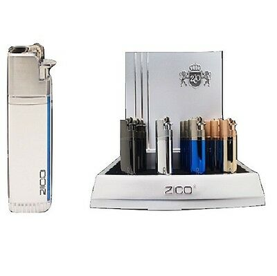 ZICO TORCH LIGHTER TWIN JET FLAME BUTANE GAS REFILLABLE SILVER zd34