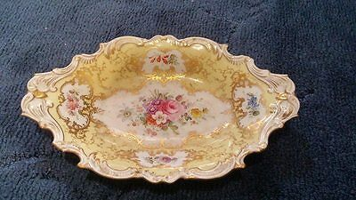 Coalport Yellow ground  hand painted signed F.Howard Serving dish boat shaped