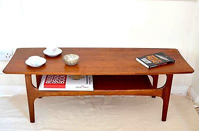 Fantastic vintage Danish style two-tier teak coffee table. Delivery. Midcentury.