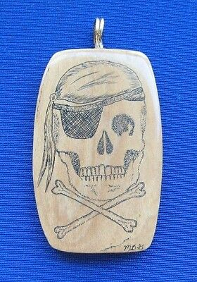 Scrimshaw jolly rodgers skull hand done one of a kind pendant necklace