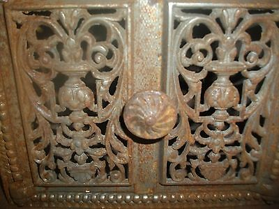 L940 Antique Fancy Victorian Cast Iron Wall Door Box Steampunk Repurpose