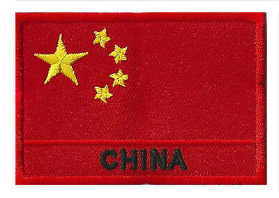Ecusson patch patche drapeau Chine China 70 x 45 mm à coudre brodé
