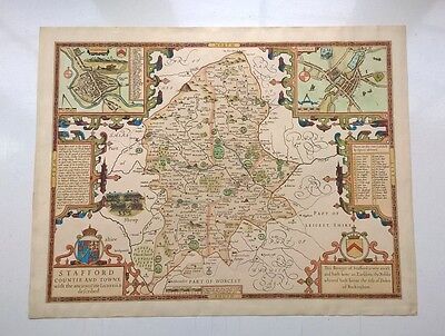 John Speed Stafford Countie and Towne Map Hand Coloured Old English England Map