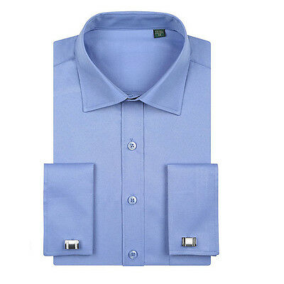 New Mens French Cuff Shirt Formal Casual Business Dress Shirts US XS-XXL ZC6376