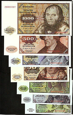 Germany 1000 500 100 50 20 10 5 mark 1980 set 7 pcs banknotes
