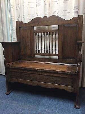Victorian Antique Solid Oak High Back Settle/Monks Bench