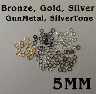50/100 Gold Silver Tone Gun Metal Bronze Open Jump Rings Split Ring Round 5mm